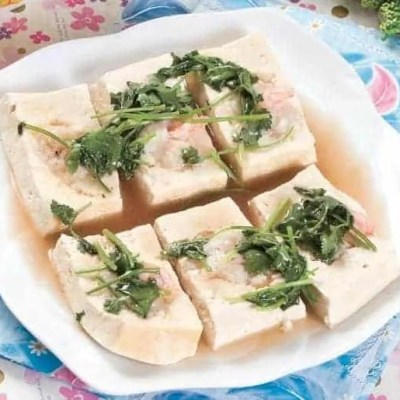 Steamed Tofu With Fresh Shrimp And Cuttlefish