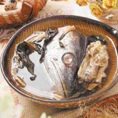 Dried Cabbage Salty Fish Head Soup Recipe