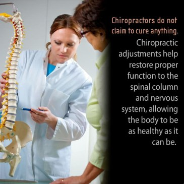Female chiropractor discussing back pain with patient using spine model