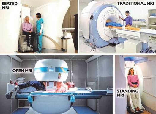 various MRI types, standing, open, seated and closed MRI