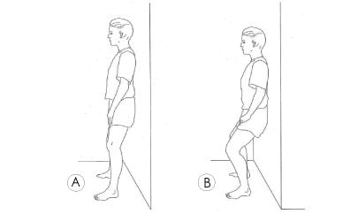 Wall assisted squat knee exercise