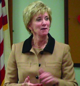 Former World Wrestling Entertainment CEO Linda McMahon is hoping her background in business and her outsider status will influence voters in November's midterm elections.