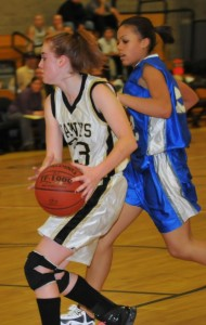 Lindsay Feducia led all scorers with 16 points, 12 of which came in the second half, to help the Hawks overcome a 12-point second-half deficit to defeat Ansonia, 52-41, in the quarterfinals of the NVL tournament