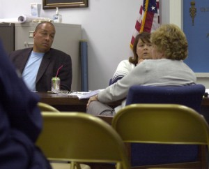 Beacon Falls First Selectman Susan Cable (far right), Board of Finance Chairwoman Wendy Hopkinson and Vice Chairman Gerard Smith listen to residents' comments on the town's proposed $5.95 million budget Tuesday.
