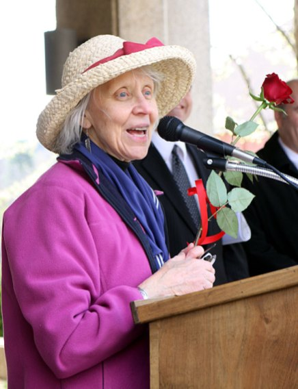 Earth Mayor for the Day Mary Lou Sharron speaks during her inauguration.