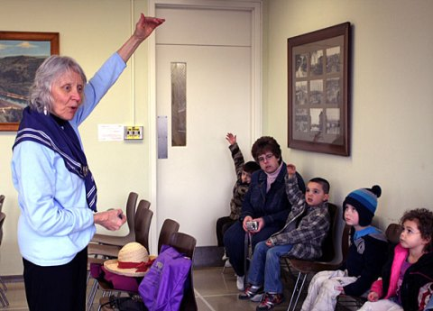 Naugatuck Earth Mayor for the Day Mary Lou Sharron talks about earth stewardship with children from Salem Community Childcare Center.