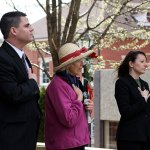 From left, Mayor Bob Mezzo, Earth Mayor Mary Lou Sharron, and State Rep. Rosa Rebimbas pledge allegiance to the flag during Naugatuck's Earth Mayor for the Day celebration.
