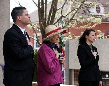 From left, Mayor Bob Mezzo, Earth Mayor Mary Lou Sharron, and State Rep. Rosa Rebimbas pledge allegiance to the flag during Naugatuck's Earth Mayor for the Day celebration.