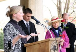 Pastor Lena Warren says a prayer for the earth at Naugatuck's Earth Mayor of the Day celebration.