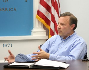 Beacon Falls Board of Finance Chair Chris Bielik discusses the town budget Tuesday night.