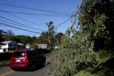 A tree limb hangs on a wire on Route 68 in Prospect Monday morning. - LARAINE WESCHLER