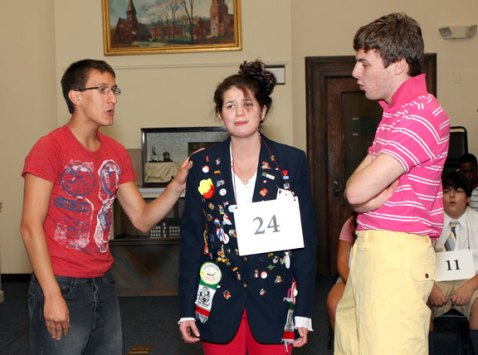 From left, Jeff O'Brien, Laura Shannon and Curtis Dunn rehearse 'Spelling Bee' Monday night for their performances at the Naugatuck Historical Society this weekend.