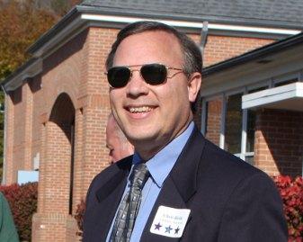 Democrat Chris Bielik greets voters outside Laurel Ledge Elementary School. Bielik won a seat on the Board of Selectmen.
