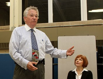 Prospect Mayor Robert Chatfield address supporters following his successful bid for reelection Tuesday night at Community School.