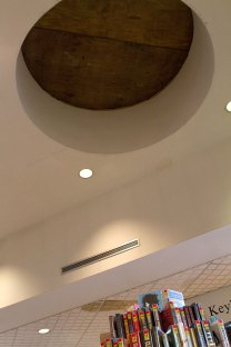 A skylight in the Whittemore Library was temporarily boarded up last week ahead of repairs.