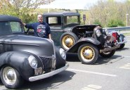 Woodland Regional High School seniors Michael Christiano and Jesse Kennedy collected over $1,200 in donations for the American Cancer Society and the Evergreen Center for disabled children to promote awareness of pancreatic cancer and autism at the JM Car Show April 28. The students put together the car show for their senior project. –Photo contributed