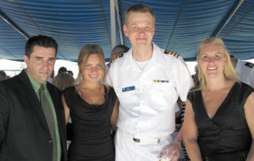 Noora-Sofia Kallio, second from the left, an exchange student from Finland attending Woodland Regional High School in Beacon Falls, was invited to attend pre-fleet week celebrations in New York City May 25 by the Finnish Embassy in Washington D.C. Kallio's father was commander of the FNS Pohjanmaa, the ship the celebration was held on, for 10 years. Pictured with Kallio are her host parents, Marco and Melanie Miranda, and Lt. Cmdr. Mika Raunu of the FNS Pohjanmaa.