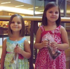 Sisters Elissa Kasek, 3, and Emily Kasek, 5, of Naugatuck recently donated over 8 inches of their hair to Pantene Beautiful Lengths. The hair provided by donators goes to make wigs for women affected by hair loss from cancer. –CONTRIBUTED