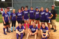 The Valley Cougars won the Women's Fastpitch Softball League of Wallingford finishing the season perfect with an 11-0 record. Pictured front row, from left, Liz Finkenzeller, Kim Bogen, and Jess Rickel. Back row, from left, Kelsie O'Donnell, manager Steve Litke, Kim Tirita, Erica Douty, coach Leigh Aronin, Jess Aronin, Maria Darling, Amanda Willette, Lianne Wallace, Carli Pelliccia, and coach Rick Pelliccia. -CONTRIBUTED