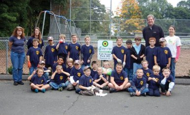Cub Scouts from Pack 109 in Naugatuck recently cleaned up their spot they adopted in Naugatuck's Fairchild Park through the Beautification Committee. -CONTRIBUTED