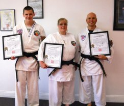 Sokol's Taekwondo LLC held a rank testing on June 16 at which Michele Turecek, Chirs Turecek, and Trevor Simmon were promoted to 1st degree Black Belts.-CONTRIBUTED