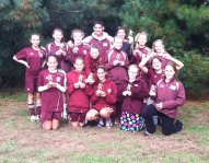 The Naugatuck Chargers, a Naugatuck Youth Soccer U13 girls team, finished second the Paul R. Cody Columbus Day Tournament in Windsor earlier this month. The Chargers tied with the eventual champions but placed second due to point differential. Pictured, front row, Alyana Sosa, Bridget Rosikiewicz, Emily Wingard, Makayla Teixeira, Cindy Stirk, Lori Dietz, Felicity Berrios, and Hailey Deitelbaum. Back row, Caitlin May, Maci Best, Erin Doris, Coach John Teixeira, Tori Giacomazzo, Nicole Crowley, and Abigail Pruchnicki. Not pictured, Cassidy Baranowski and Erin Korowotny. -CONTRIBUTED