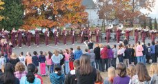 Members of the Naugatuck High School marching band perform for students at Cross Street Intermediate School in Naugatuck Oct. 26. The band took its fall competitive show on tour entertaining students from Cross Street, Maple Hill, Salem, Hillside, Andrew Avenue, and Western schools. After each performance, students at those schools had the opportunity to interact with members of the band to learn more about the program. For more information, visit www.naugatuckmarchingband.com. -CONTRIBUTED