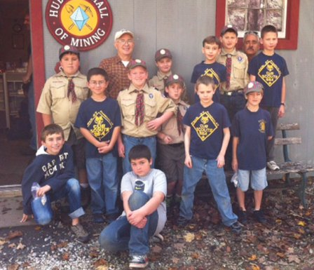 Prospect Cub Scout Pack 27, Dens 3 and 9 visited the Kent Mining Museum on Oct. 20. They earned their Webelos Geology Pins, learned a lot from Dr. Rock who runs the museum, and got to mine some rocks themselves. Pictured, back row from left, Robby Cavallo, Dr. Rock, Albert Marchant, Sam Laounette, Josh Pavlik, Anthony Santovasi, and Aidan Woodsworth. Front row from left, Noah Scott, Nicholas Santovasi, Michael Jankowsky, Joseph DeDomenico, Aaron McKay, and Zachary Telesco. Kneeling in front is Spencer Gumpper. -CONTRIBUTED