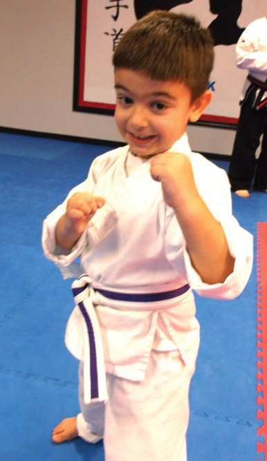 John Salgado was promoted to Little Ninja Belt, ages 3 and 4, 'Black Ninja' during a grading Nov. 29 at USA Martial Arts in Naugatuck. -CONTRIBUTED