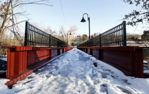The General Pulaski footbridge spans over the Naugatuck River, connecting Union City to Bridge Street, near the Polish American Club. Phase one of the Naugatuck greenway connects the borough's downtown to the footbridge. –RA ARCHIVE