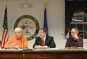 Certified Public Accountant Michael Battista, center, speaks during the Prospect Town Council Jan. 15 about the results of an audit of the 2011-12 fiscal year as Chairman Tom Galvin, left, and Councilor Stanley Pilat listen. –LUKE MARSHALL