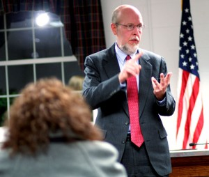 State Sen. Joe Markley (R-16) addresses residents during a Jan. 23 constituent forum Wednesday at Prospect Town Hall. –CONTRIBUTED