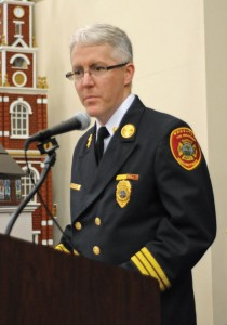 Naugatuck Second Assistant Fire Chief Paul Russell leads those in attendance in the Fireman's Prayer during the Naugatuck Fire Department's recognition ceremony Jan. 30. –LUKE MARSHALL