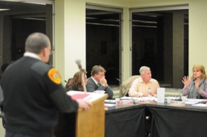 Naugatuck Fire Chief Ken Hanks addresses the Board of Mayor and Burgesses Tuesday night. The board approved bids for a new fire pumper truck and other components. –LUKE MARSHALL