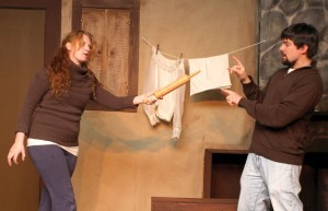 Kristen Jacobsen, left, and Rob Richnavsky rehearse a scene last year at the Phoenix Stage Company in Naugatuck. The theater nearly closed in February, but a plea for help on Facebook was met with an outpouring of donations. –FILE PHOTO