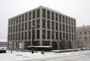Snow falls in downtown Naugatuck during a storm in January 2011. A severe winter storm is expected to hit the area Friday and Saturday. –FILE PHOTO
