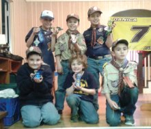 Naugatuck Cub Scout Pack 110 held its annual Pinewood Derby race March 3 at The Grange in Naugatuck. The top six winners were, top row from left, Richard Taylor (sixth place), Dmitriy Fogie (fifth place), Christopher Minutolo (fourth place), bottom row from left, James Fay (third place), Mathew Bryant (second place) and Connor Kusmit (first place). –CONTRIBUTED
