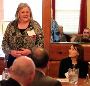 State Rep. Theresa Conory (D-105) addresses the audience during the Naugatuck Chamber of Commerce's annual Legislative Breakfast March 22 at Jesse Camille's Restaurant as state Rep. Rosa Rebimbas (R-70) listens. –ELIO GUGLIOTTI