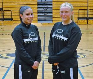 Woodland seniors Brooke Leshin, left, and Nicole Fowler will lead the Hawks this season as co-captains. –LUKE MARSHALL