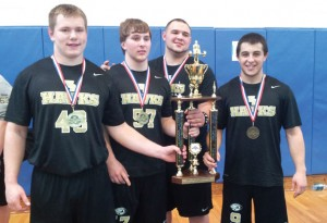 Woodland captured its first-ever Naugatuck Valley League weightlifting title March 2 in Seymour as, from left, Levi Fancher, Kevin Brennan, Jeremy Clark and Dave LaChance won their individual weight classes. –KYLE BRENNAN