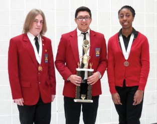 Naugatuck residents and Kaynor Technical High School students, from left, Jason Seeger, Anthony Luis and Marlena Daley were honored March 28 during an awards ceremony at the Skills USA State Leadership Conference and Connecticut Skill Championships. Seeger was honored for his service as co-President of the Kaynor Skills US Chapter. Luis was part of a team that won first place in the Promotional Bulletin Board category. Marlena Daley won a medal for her job skills demonstration on how to draw a human eye. On June 24, the students will be heading out to Kansas City, Mo., for six days to compete in the Skills USA National Competition. -CONTRIBUTED