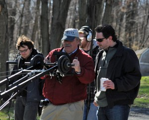 Prospect resident Brian Trent, right, looks at the shot director of photography Bill Hamell is getting during filming for the web series 'Selene Hollow' last year. Trent will be honored during the 29th Annual L. Ron Hubbard Achievement Awards April 14.-FILE PHOTO