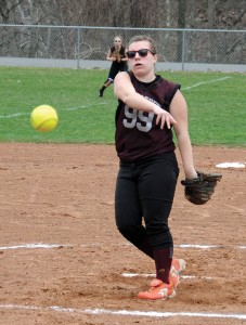 Naugatuck's Jenna Miller pitches during a 4-3 win over Kennedy April 10 at Breen Field in Naugatuck. Miller is 2-0 with a 2.59 ERA in three games in the circle. –LUKE MARSHALL