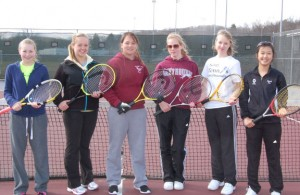 Naugatuck girls top singles players, from left, freshman Sarah Cook and juniors Martina Niebryzdowski, Kayla Rotatori, Kayla Gallant, Mikaela Santo and Hannah Kim will lead the Greyhounds. –KEN MORSE