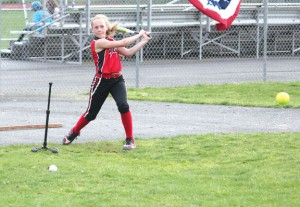 Allison Klimaszewski of Naugatuck cracks a hit during Major League Baseball's Pitch, Hit & Run competition last year at Naugatuck High School. This year's competition will be held May 5 at the Union City Little League Joe Joy Complex. –FILE PHOTO