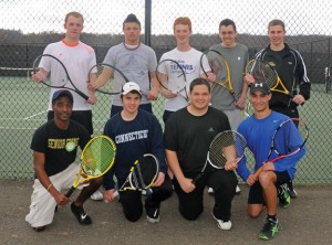 The Woodland boys tennis team has its sights set on a third consecutive Naugatuck Valley League championship. The team is returning a core group of seniors, kneeling from left, Johan Haile, Matthew Murphy, Nick Rioux and Kyle Beynor, standing from left, Patrick Dietz, Steve Peck, Christopher Zmuda, Michael Ventimiglia and Michael Costa. -LUKE MARSHALL