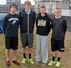 Woodland seniors, from left, Nick Hebert, Ian Chamenko, Brett Fowler and Andrew Hale will captain the boys track team. –LUKE MARSHALL