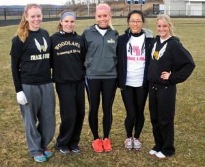 Woodland seniors, from left, Nikole Tyrrell, Sydney Corneau, Tayler Boncal, Jiye Park and Steph Dumond will captain the girls track team. –LUKE MARSHALL