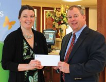 Paul Murray, right, of Sutherland Insurance, an affiliate of Naugatuck Saving Bank, presents Donate Life Connecticut Director Kari Mull with a $1,500 grant from the Naugatuck Savings Bank Foundation to support the organization's 2013 Toast to Life fundraiser, which will be held June 5 at Gouveia Vineyards. Donate Life Connecticut is dedicated to the purpose of public education and awareness for all Connecticut residents concerning the lifesaving benefits of organ and tissue donation and increasing the number of registered donors. 'We are obliged to support this organization and its fundraising efforts to help them continue in their important quest to increase the donor registry,' said Charles Boulier III, president and CEO of Naugatuck Savings Bank. Mull said her organization appreciates the foundation's support. 'One donor has the potential to save and improve the lives of over 50 others. With over 1,300 Connecticut men, women and children waiting for a life-saving organ donor, we encourage all Connecticut residents to register as a donor when renewing their driver's license or online by visiting our website,' she said. –CONTRIBUTED