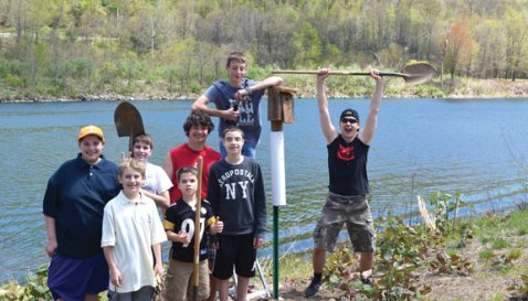 Boy Scouts from Naugatuck Troop 138 recently put up 10 bluebird houses at Toby's Pond in Beacon Falls as part of Charles Fogie's Life project. –CONTRIBUTED